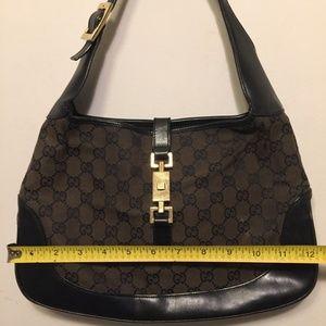 Gucci Bags - GUCCI Jacki O Black/ Brow Canvas w/ leather Trim
